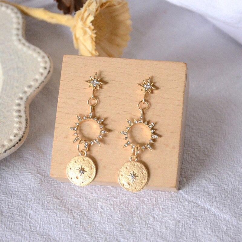 Sindlan Crystal Sun Earrings for Women Gold Long Drop Earrings Pendants Boho Ear Studs Summer Lady Ear Jewelry Korean Style(China)