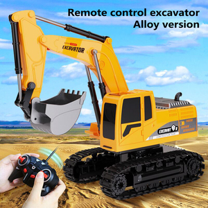 1:24 6-channel Alloy Remote Control Excavator Engineering Vehicle Simulation Excavator Classic Simulation Engineering Car Toy