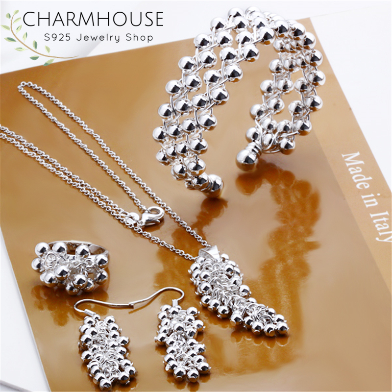 Charmhouse Pure Silver Jewellery Sets For Women Grape Ball <font><b>Earrings</b></font> <font><b>Necklace</b></font> Bangle <font><b>Ring</b></font> 4pcs Wedding Jewelry Accessory Bijoux image
