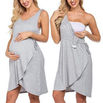 Maternity Dresses - V Neck - Sleeveless - High Waist 1