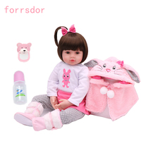 Newborn 19 inch realistic baby girl pink rabbit clothes silicone bebe reborn doll to children's best birthday Christmas toy gift