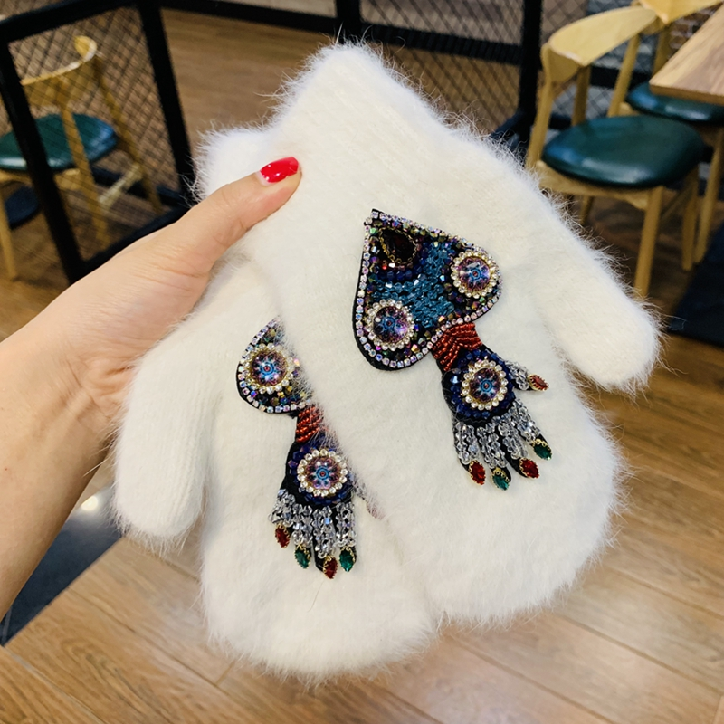 Warm Women Gloves Winter Crystal Octopus Rabbit Fur Brand Gloves For Female Double Warm Full Finger Mittens Christmas Gifts