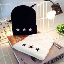 Women Men Winter Knitted Cuffed Hat 3D Five-Pointed Star Embroidery Hip Hop Dacning Outdoor Beanie Cap Solid Color Ear Warmer chic small ball embellished five pointed star pattern knitted beanie for women