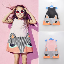 Toddler Kid Baby Girl Short Sleeve 3D Cartoon Fox Printed Princess Dress Clothes Knee Length Cotton pocket Dress Outfit 2-7Y