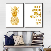 Deco Maison Wall Painting Posters And Prints Yellow Pineapple Living Room Decoration Art Ananas Cuadros Unframed
