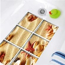 6pcs 3D Bathtub Stickers Anti Slip Removable Waterproof Self-adhesive Bath Mats Bathroom For Kid 15x15cm