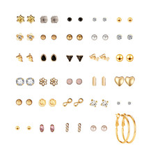 30Pairs/Set Love Zircon Fringe Geometry Pearl Earrings for Women Cute Heart Small Stud Earings Fashion Jewelry