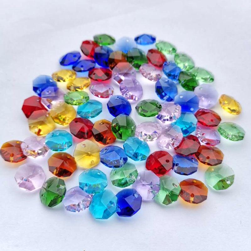 20pcs 14mm Crystal Octagonal Beads Chandelier Prism Parts Glass Suncatcher Accessories DIY Garland Wedding Xmas Decor