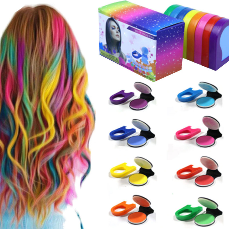 8pcs DIY Temporary Wash-Out Dye Hair Color Coloring Style Styling Chalk Powdery Decorate Dressing Care Cake Accessories Tool