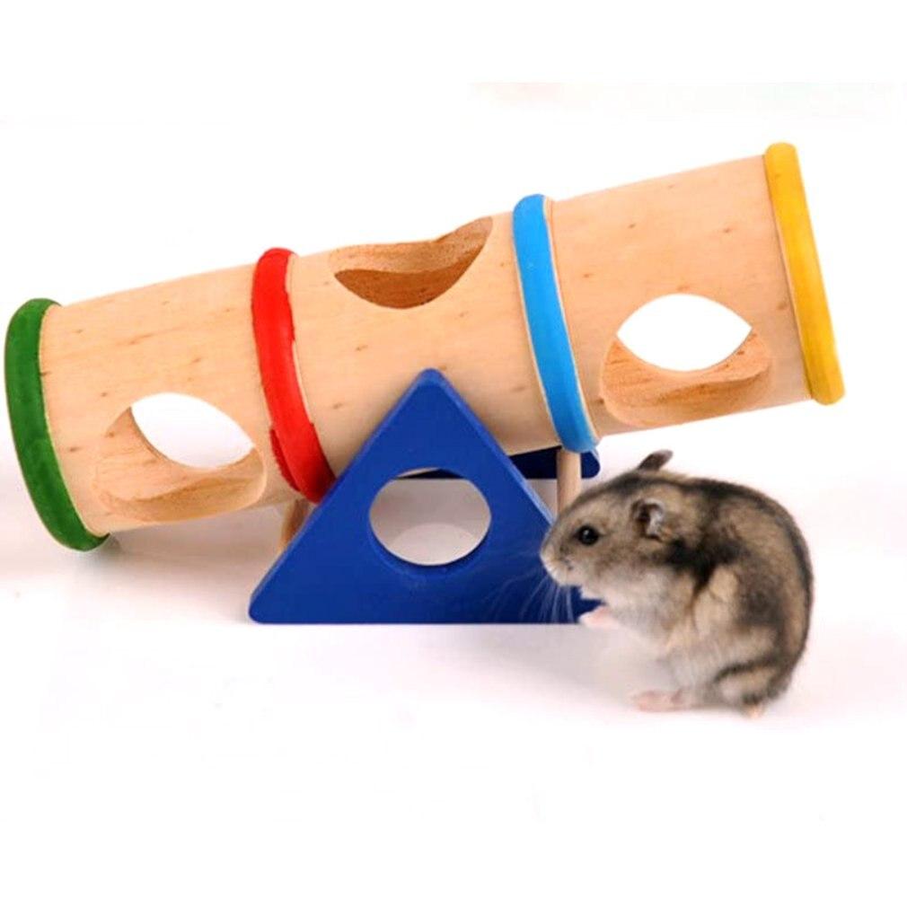햄스터 게임 은신처 나무 스윙 실린더 Drawf 햄스터 마우스 및 기타 작은 모피 동물 햄스터 액세서리 장난감