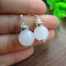 +++ Free shipping Pretty Natural 12mm White Jadeite Jade S925 Silver Hook Dangle Earrings(China)