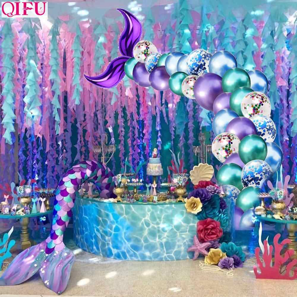 QIFU Little Mermaid Tail บอลลูน Mermaid Party Supplies Decor Mermaid Mermaid วันเกิด Party Decor Girl Baby Shower Wedding Deco