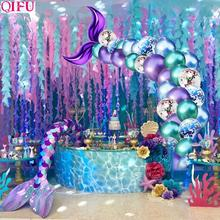 QIFU Little Mermaid Tail Balloon Party Supplies Decor Birthday Girl Baby Shower Wedding Deco