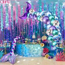 QIFU Little Mermaid Tail บอลลูน Mermaid Party Supplies Decor Mermaid Mermaid วันเกิด Party Decor Girl Baby Shower Wedding Deco(China)