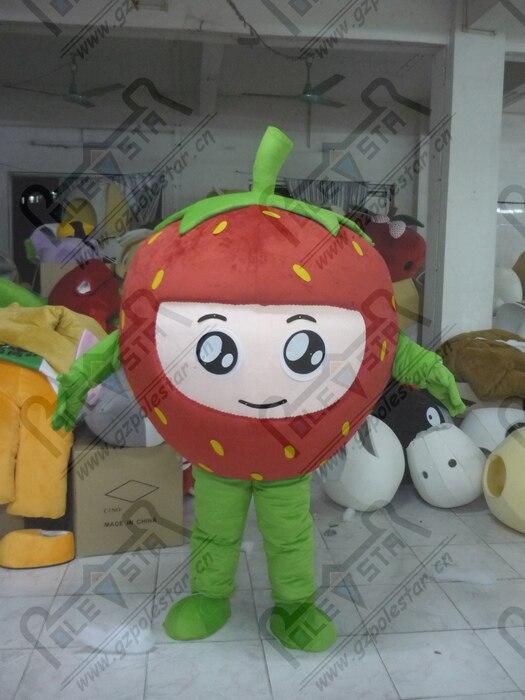 La mascotte de fraise de qualité costumes la conception de mascotte de fruit de mousse de bande dessinée