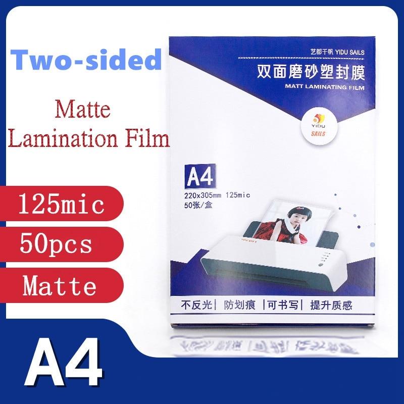 50pcs/bag 125micron A4 Size PVC Matte 2Flap Laminating Pouch Thickness PET+EVA+PE Hot Laminator Superplastic Laminating Film