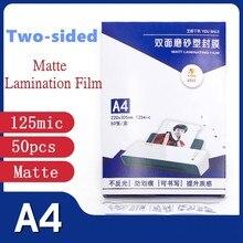 50 sztuk/worek 125 mikronów A4 rozmiar pcv matowy 2Flap folia do laminowania grubość PET + EVA + PE Hot Laminator Superplastic folia do laminowania