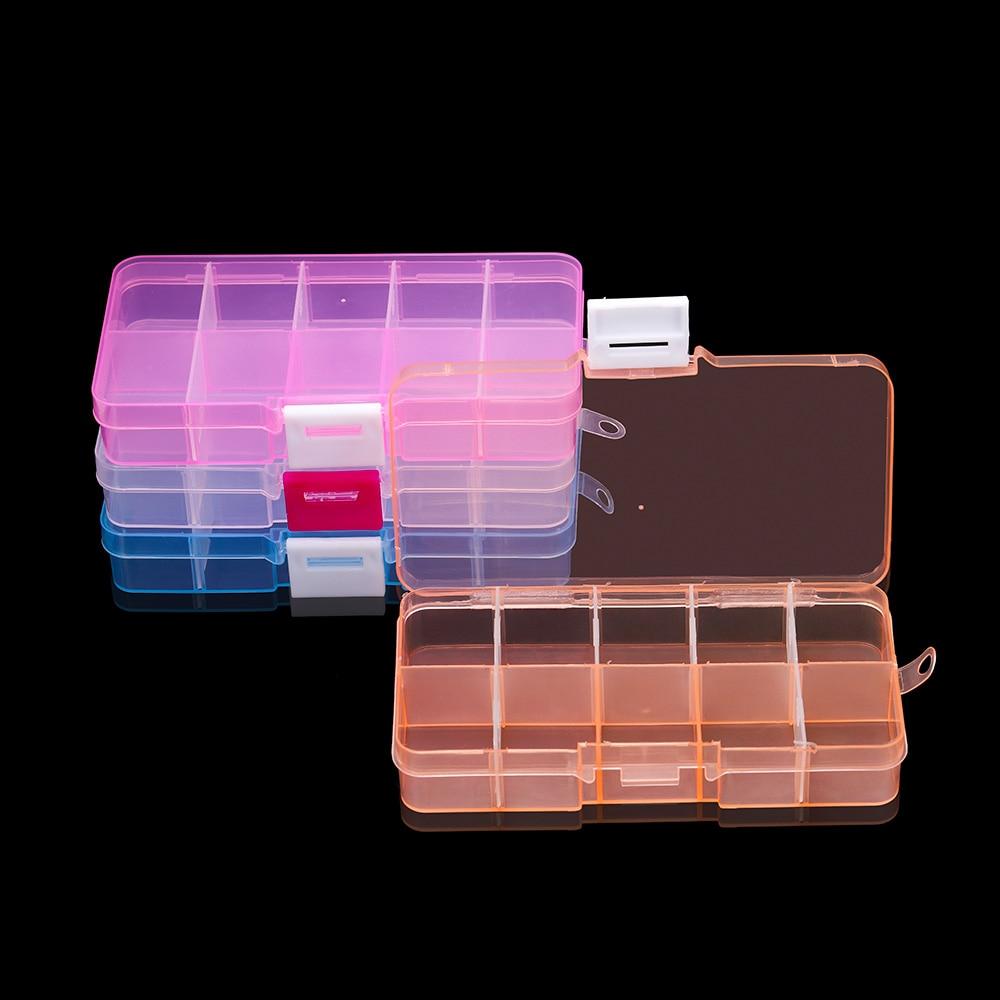 10 Slots Adjustable Plastic Rectangle Transparent Storage Box Craft Organizer Handcraft Jewelry Container