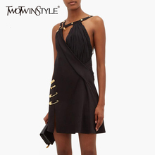TWOTWINSTYLE Asymmetrical Patchwork Pin Dress For Women Spaghetti Strap Off Shoulder High Waist Dresses Female Autumn New 2019