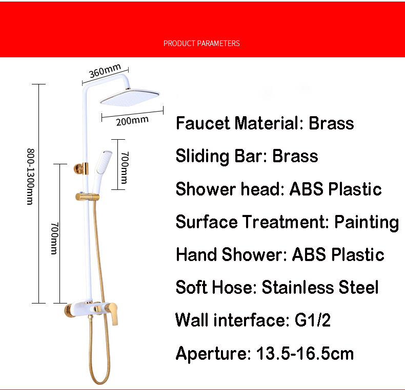 H26c106725f304387bfc6a7c7414c4ab6X Shower Set SDSN White Gold Bathroom Shower System Quality Copper Brass Bathtub Faucet Rainfall Shower Head Spa Bath Shower Sets