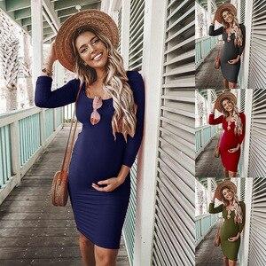 Новинка, однотонное платье с длинными рукавами и круглым вырезом для беременных женщин, модная одежда для весны и осени