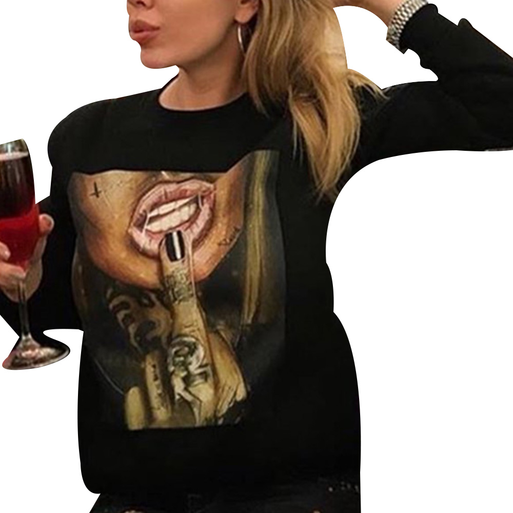 Autumn Winter Women Pullover Shirt Cartoon Printed Long Sleeve O Neck Tops And Blouse Casual Ladies Shirts Fashion Blusas D30