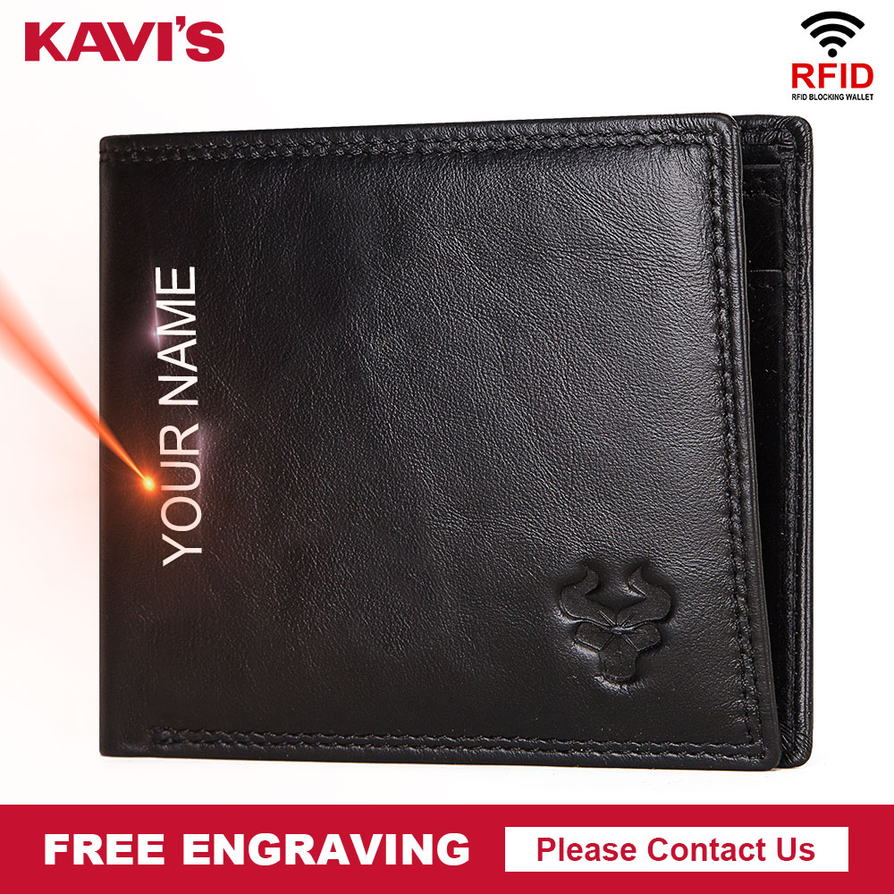 KAVIS Rfid Free Engraving 100% Genuine Leather Wallet Men Portomonee Coin Purse PORTFOLIO Male Cuzdan Perse Card Holder Quality