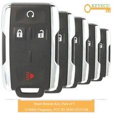 KEYECU 5 шт. дистанционный Автомобильный ключ без ключа для Chevrolet Silverado 1500 2500 3500 HD-, FOB 4 Btns-315 MHz-M3N-32337100