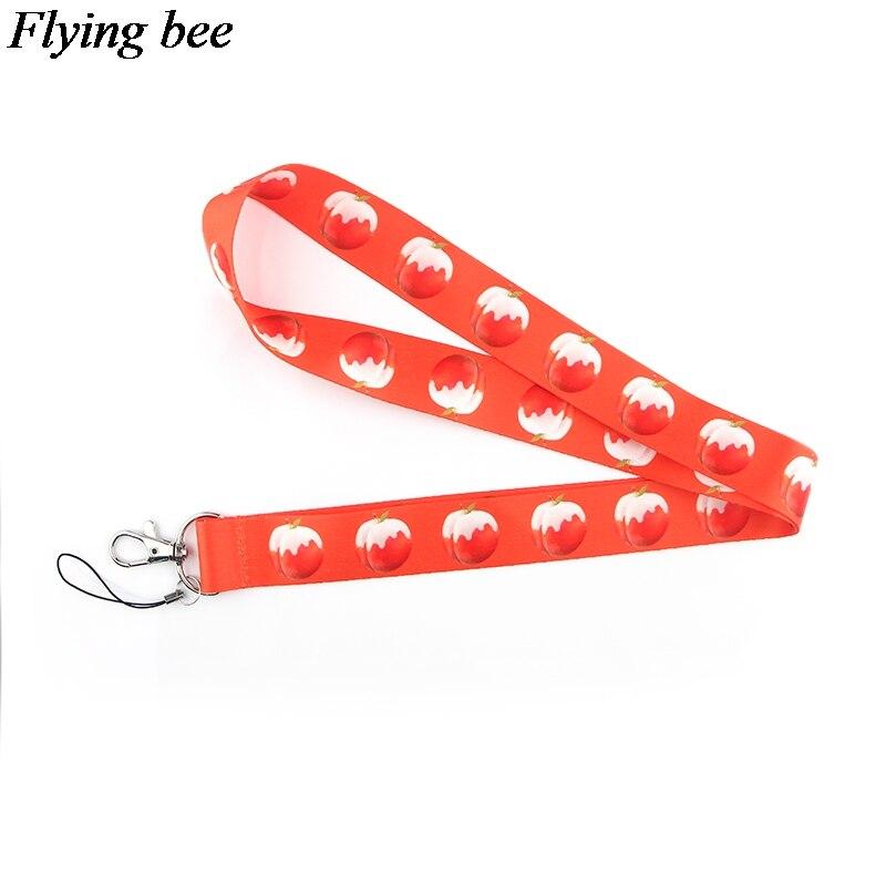 Flyingbee Juicy Peach Keychain Cartoon Creative Phone Lanyard Women Fashion Strap Neck Lanyards For ID Card Phone Keys X0620