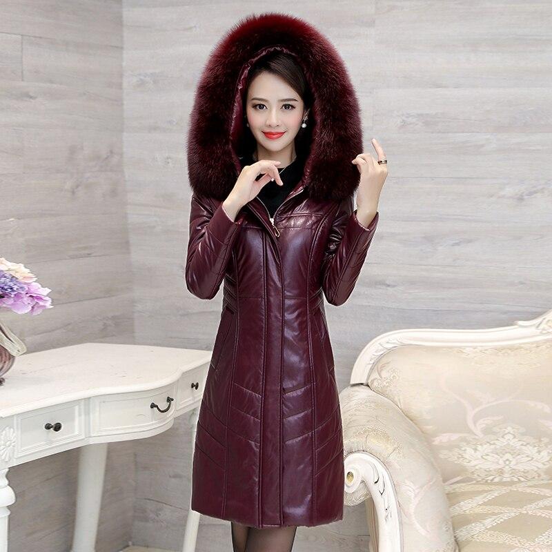 Winter Vrouwen Imitatie Schapenleer Down Jacket Fox Bontkraag Lange Parka Kapmantel Vrouwelijke Plus Size 8XL Warme Lange jassen - 3