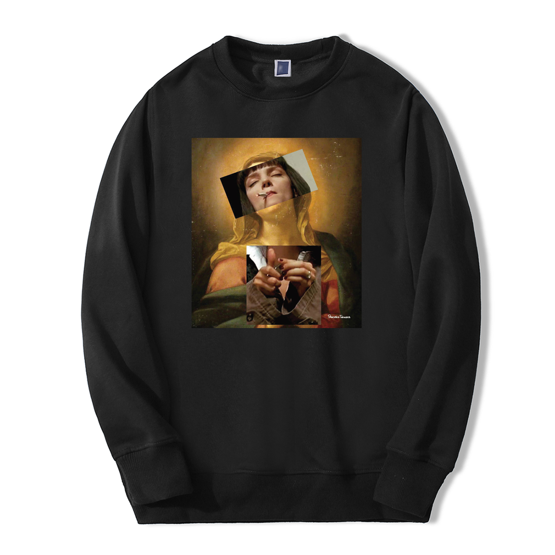 Virgin Mary Pulp Fiction Sweatshirt Men 2019 Hip Hop Autumn Winter Men Hoodie Hipster Warm Fleece Vintage Casual New Sportswear