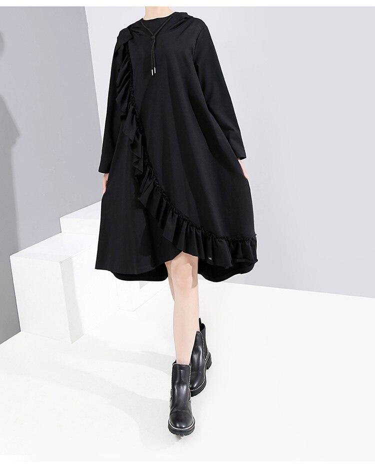 New Fashion Style Black Hooded Robe Dress Fashion Nova Clothing