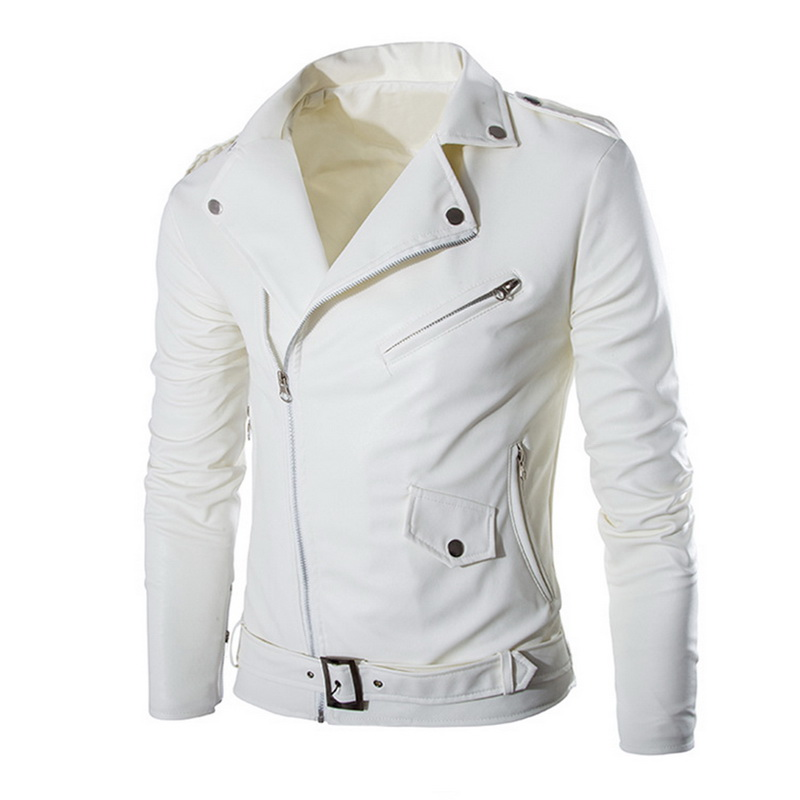 Mens Boutique PU Leather Jackets Men Fashion Multi Zippers Slim Fit Coat 2019 Autumn Winter Casual Street Motorcycle Jacket