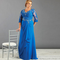 Sparkly Diamonds Lace Chiffon Plus Size Mother of the Bride Dress Half Sleeve Long Formal Evening Gowns Wedding Party Guest