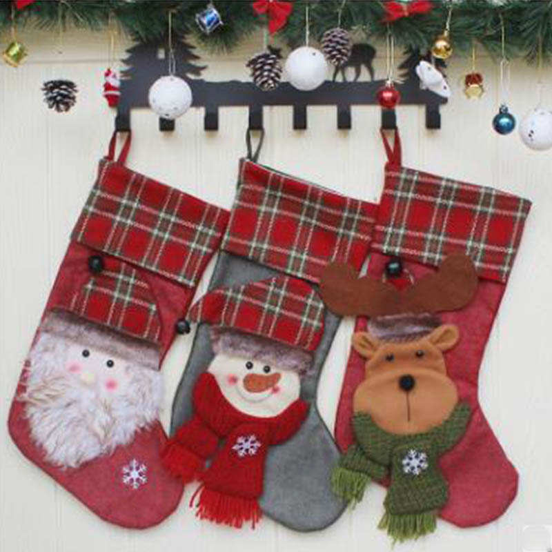 Новый Рождественский носок Подарочная сумка Рождественская елка кулон старый человек снеговик лося подарок отель ветрина магазина украше... - 5