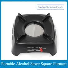 Fogão a álcool portátil para a fornalha quadrada do piquenique do churrasco de acampamento ao ar livre nenhuma fornalha redonda de aço inoxidável da poluição