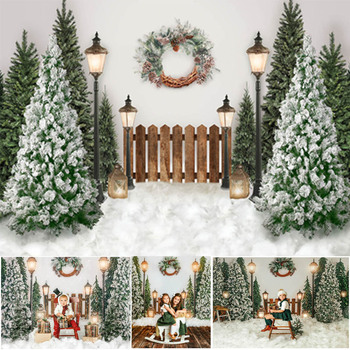 Christmas Snow Backdrops for Photography Winter Children Portrait Photographic Studio Photo Backgrounds Pine Tree Fence Decor mocsicka christmas winter snow night backdrops for photography christmas tree fence decor photographic studio photo backgrounds