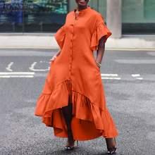 Casual Solid Ruffle Sleeve Sundress ZANZEA Women Shirt Dress 2021 Summer Irregular Midi Vestidos Female O-neck Robe Oversize 5XL