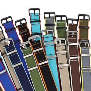 Premium Quality Herringbone 20mm 22mm Seatbelt Watch Band Nylon Nato Strap For Military Watch