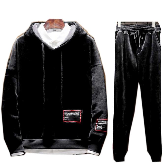Men Velvet TrackSuit Sport Jacket Top Sweats Suit Trousers Velours Set