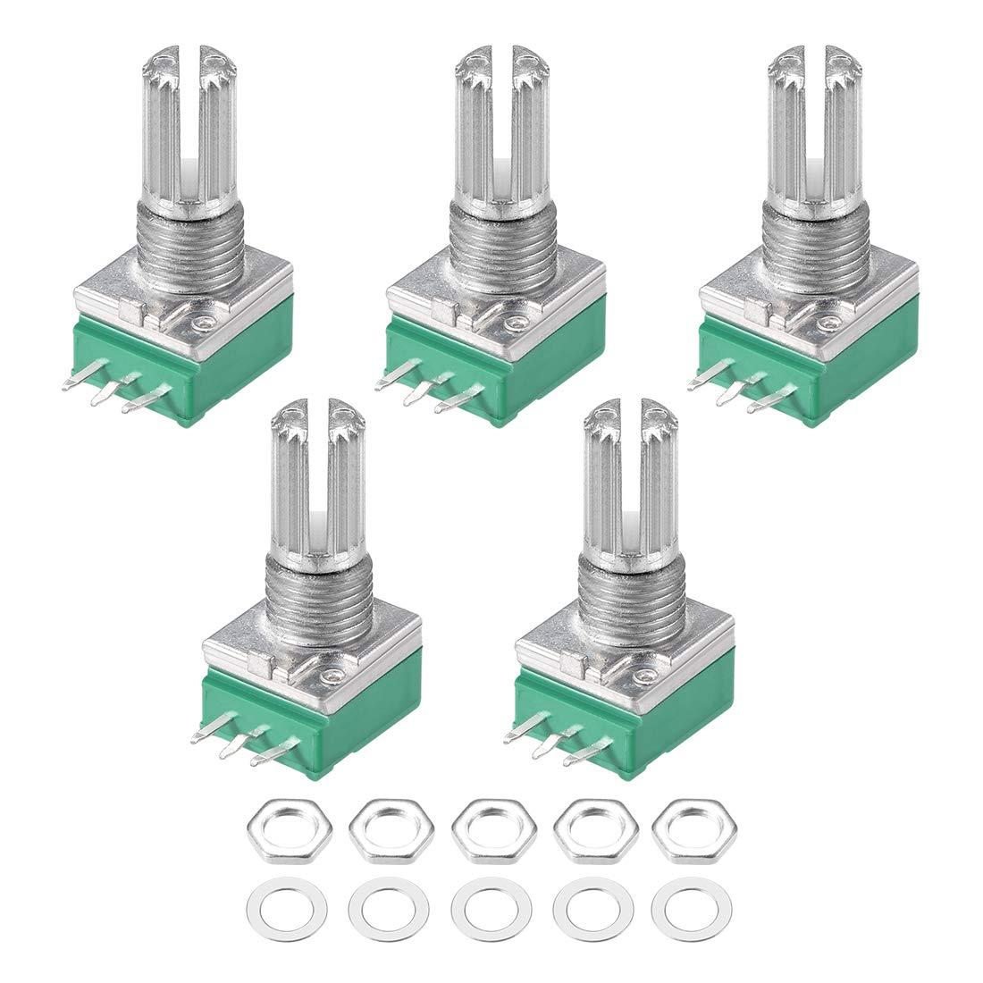 Потенциометр RV097NS B5K B10K B20K B50K B100K B500K, 5 шт./лот, 3-контактный вал потенциометра с переключателем