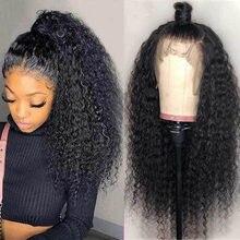 Perruque Lace Front Wig frisée brésilienne, cheveux naturels, 13x4, 28 à 30 pouces, avec Baby Hair, pour femmes africaines