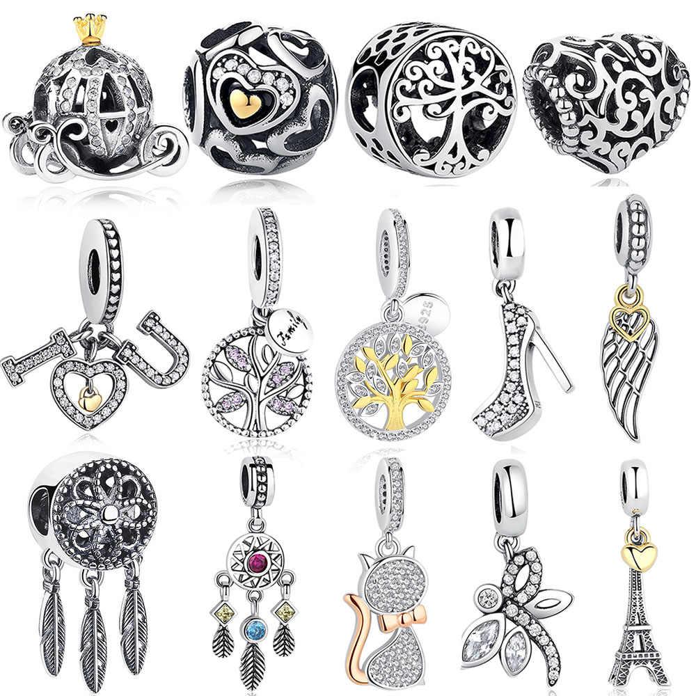 DIY Prata Charme Fit Original Pandora Pulseira Beads 925 Sterling Silver Amor Dangle Charme Coração de Cristal, flor, Torre, Árvore Talão