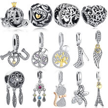 DIY Silver Charm Fit Original Pandora Bracelet Beads 925 Sterling Silver Love Dangle Charm Crystal Heart ,Flower,Tower,Tree Bead(China)