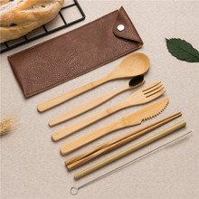 Eco-Friendly dinnerware set wooden bamboo Spoon Fork Knife Chopsticks Kit for home work school outdoor