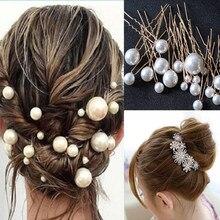 Fashion Crystal Pearl Wedding Hair Pins Flower Bridal Hairpins Bridesmaid Hair Clips Hair Accessories Barrettes Hairwear Jewelry