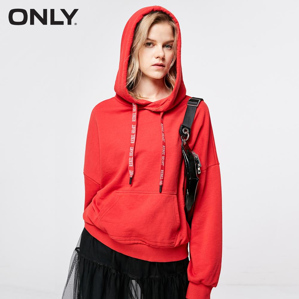 ONLY 2019 Women's Loose Fit Letter Print Hoodie |11919S593