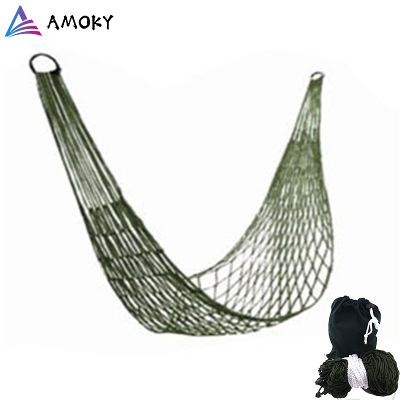 Single Portable  Nylon Hammock Swinghang Mesh Net Sleeping Bed Hamaca For Outdoor Travel Camping Hamak Blue Green 100 Kg Weight