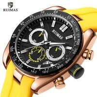 RUIMAS Mens Watches Top Brand Luxury Man Military Sport Wristwatch Chronograph Quartz Watch Male erkek saat Silicone Strap Relogio Masculino 541Yellow