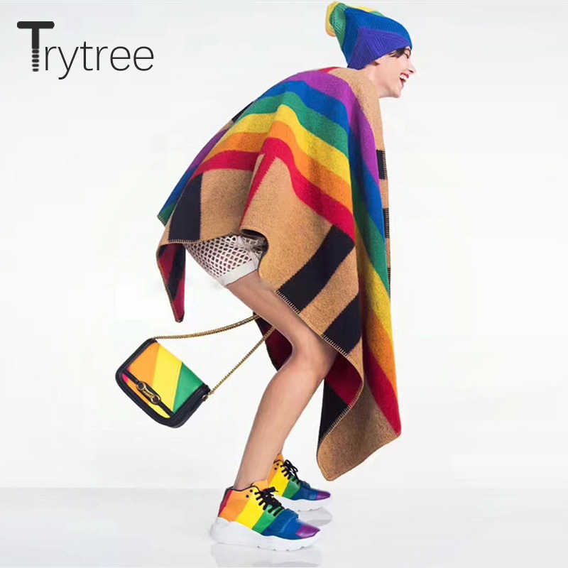 Trytree 2019 Autumn Winter Women Scarf Shawl Casual Rainbow Keep warm Poncho Fashion Long Lady Man All-Purpose Style Thick Scarf